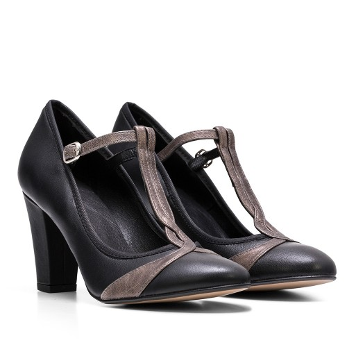 ZAPATO DE TACON NORA TIBET/MAGIC NEGRO/GRIS