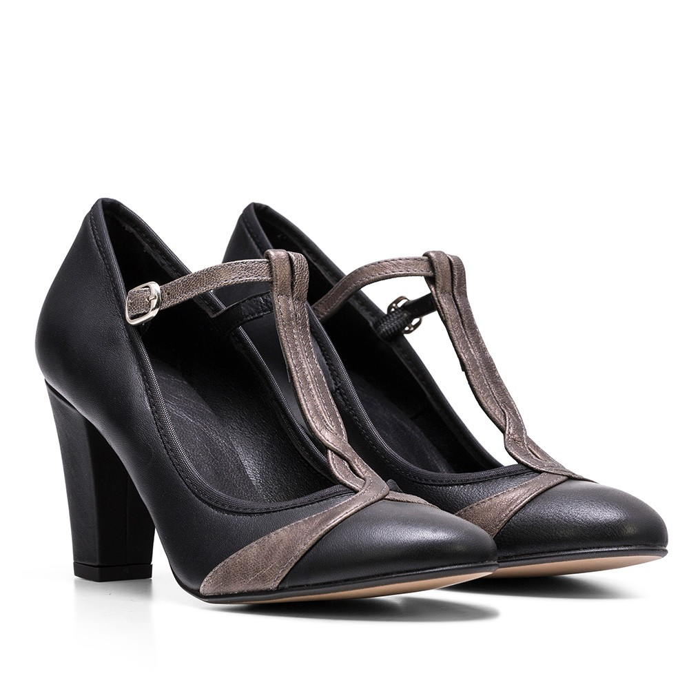 ZAPATO DE PIEL NORA TIBET/MAGIC NEGRO/GRIS