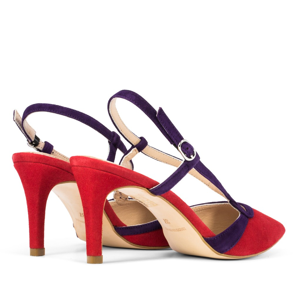 SANDALIA DE PIEL ASHLEY ANTE ROJO/MORADO